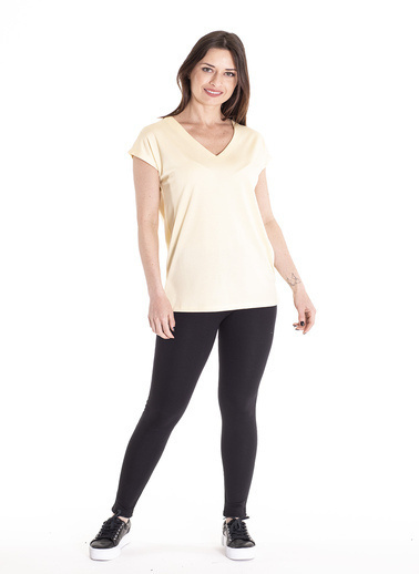 Stamina Derin V Yaka Kısa Kol Bluz Sarı